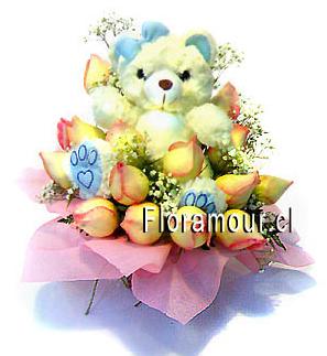 Flores para recien nacidos - oso de peluche con rosas